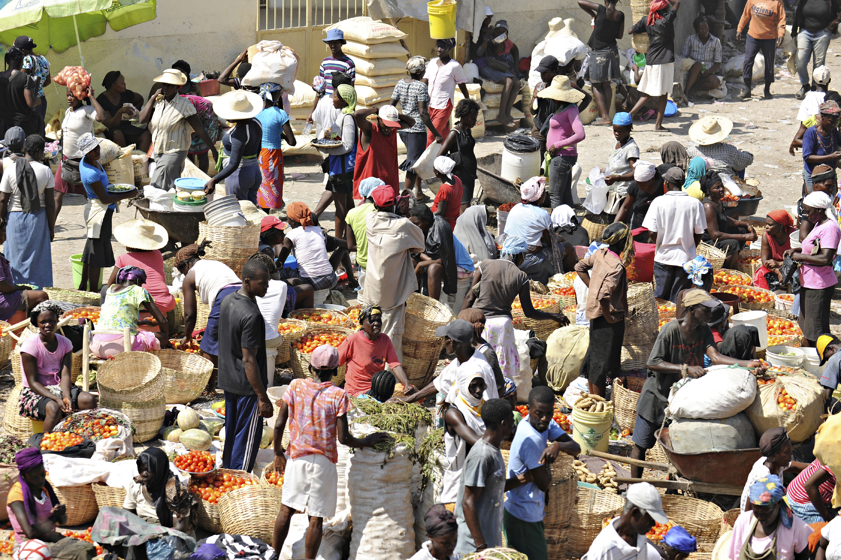 An overhead view of a busy marketplace on Feb, 12, 2014 in St. Marc, Haiti.